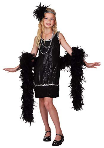 Girls Black Flapper Dress 1920s Flapper Dress Costume Medium
