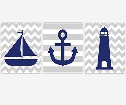 Nautical Baby Boy Nursery Art Navy Blue Gray Sailboat Anchor Lighthouse Toddler Boy Bedroom Bathroom Prints Baby Nursery Decor SET OF 3 UNFRAMED PRINTS