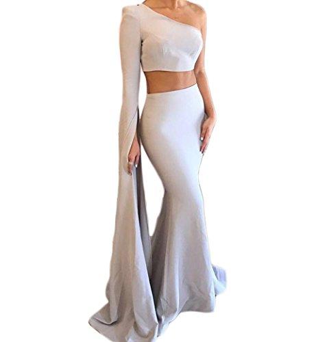- Mathena Women's One Shoulder Long Sleeve 2 Piece Mermaid Prom Dress Sweep Train US 12 Silver Grey