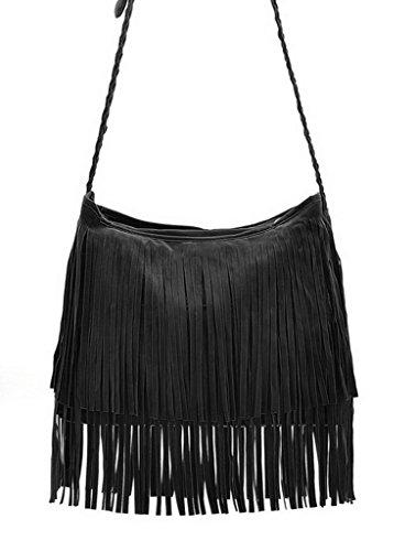Bag Straps Bigood Tassels Cross Women Long Single Shoulder Suede Black body q0B1Xq