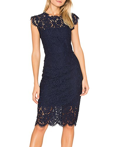MEROKEETY Women's Sleeveless Lace Floral Elegant Cocktail Dress Crew Neck Knee Length for Party ()
