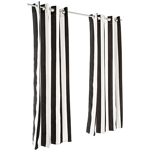 (Pawleys Island Cabana Black Sunbrella Grommeted Outdoor Curtain 50