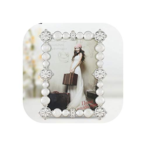European Rectangle Shaped Shiny Silver Plating with White Beaded and Jeweled 4X6 Inches Metal Photo Frame,Silver White,4X6 Inches
