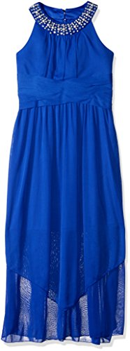 Amy Byer Girls' Big Full Length U-Neck Party Dress, neon Cobalt, 12