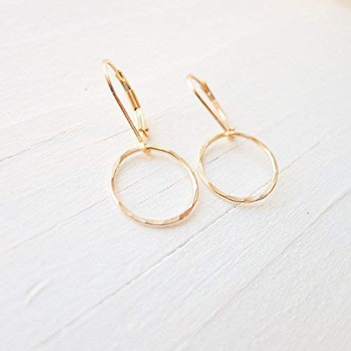 Camilee Designs Hammered Gold Hoop Leverback Earrings