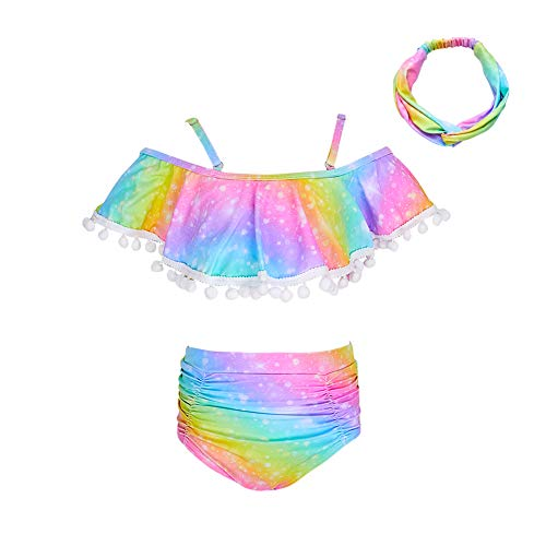 Play Tailor Toddler Girl Swimsuit Two Piece Rainbow High Waist Ruffle Off Shoulder Bikini Bathing Suit 2-8Y