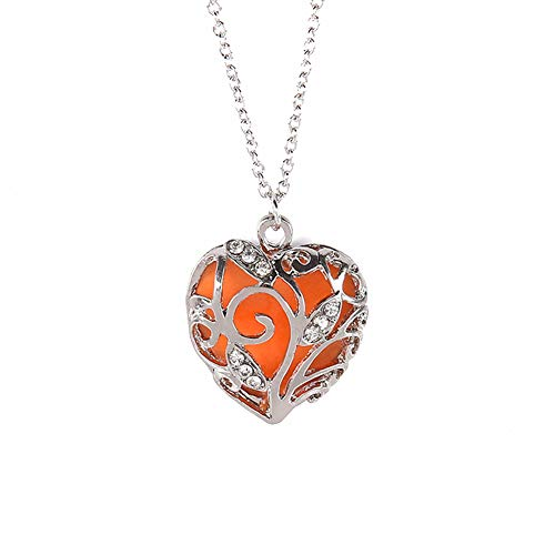 lightclub Fashion Women Hollow Out Heart Rhinestone Pendant Luminous Chain Necklace Gift - Orange Elegant Necklace for Women