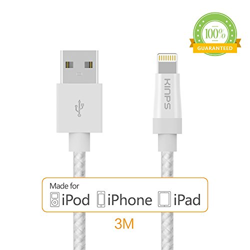 Kinps Apple MFi Certified Lightning to USB Cable 10ft/3m iPhone Charger Cord Super Long for iPhone X / 8 / 8 Plus / 7 / 7 Plus / 6S / 6S Plus / 6 / 6 Plus / SE, iPad Pro/Air/Mini (Nylon-White, 1 Pack)