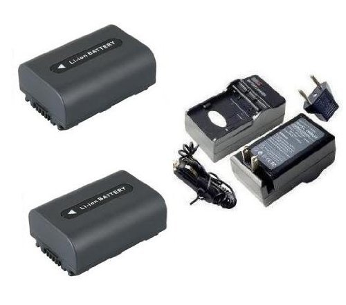 SAVEON Battery Kit includes Two Spare Replacement Sony NP-FH50 Batteries + Charger For Sony DCR-SR42, SR45, SR46, SR47, SR62, SR65, SR67, SR82, SR85, SR87, SR200, SR220, SR300, SX40, SX41, SX60 Camcor