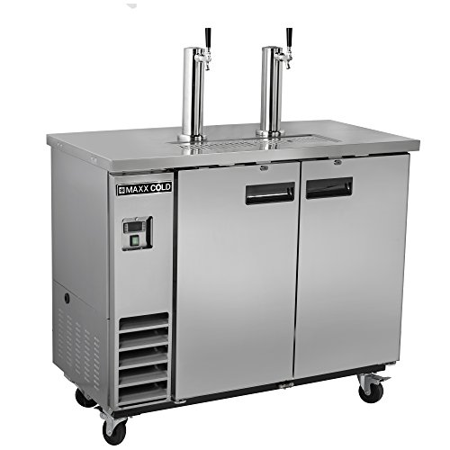 Maxx Cold MXBD48-2S Commercial Stainless Steel NSF Bar Direct Draw Kegerator Beer Dispenser Cooler with 2 Towers Taps Holds 2 Half 1/2 Size Kegs, 47.5 Inch Wide 10.5 Cubic Feet , Silver Commercial Keg Refrigerator
