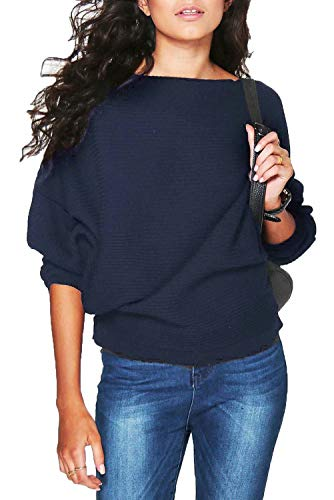 FOUNDO Womens Casual Loose Knit Bat Sleeve Blouse Knitted Sweater Pullover Tops Navy - Womens Sweater Boatneck
