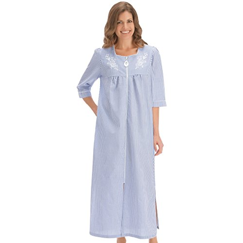 Womens Seersucker Front Long Robe