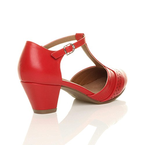 Red Mid T Out Ajvani Women Bar Cut Shoes Matte Court Size Heel Pumps 5wRwqPa
