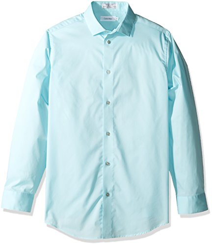 Calvin Klein Big Boy's Long Sleeve Solid Stretch Poplin Shirt, Light Teal, 18 (Shirt Spandex Poplin Stretch)