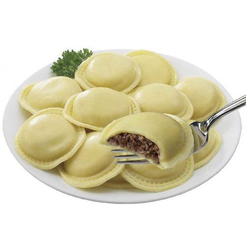 Rosina Food Jumbo Beef Ravioli Pasta - Round - 130 per case.