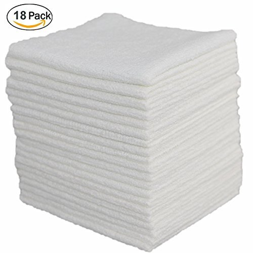 FIBEROMANCE Ultra Soft Microfiber Cleaning Cloth White 12 x 12 for Kitchen House Household Cleaning Lint Free Micro Fiber Dust Cloths to Clean Car Interior Easily Remove Dust Oil Smudges (18 Pack) N1001