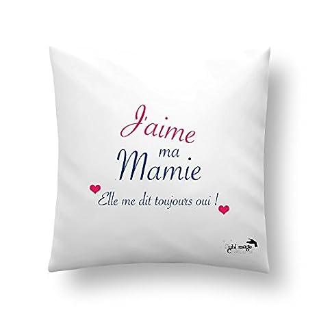 Cojín o funda de cojín J aime ma Mamie, fiesta de corazón ...