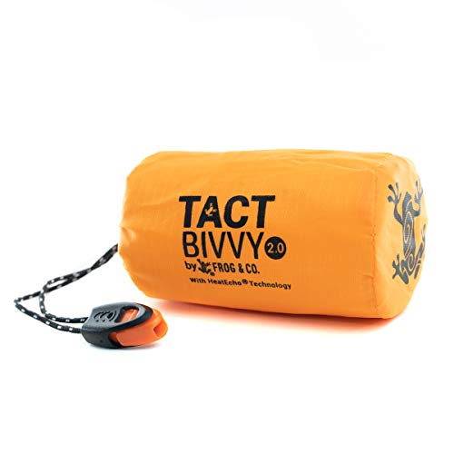 Tact Bivvy 2.0 Compact Ultra Lightweight Sleeping Bag - 100% Waterproof Ultralight Thermal Bivy Sack Cover, Emergency Space Blanket Liner Bags for Emergency Shelter, Tent Camping, Frog & CO (Orange)