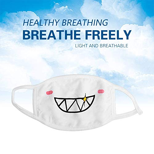 Keklle Mouth Masks, Unisex 5Pack Kawaii Muffle Mask, Anti Dust Cute Kaomoji Face Mask Cotton Masks for Boys Girls (White)