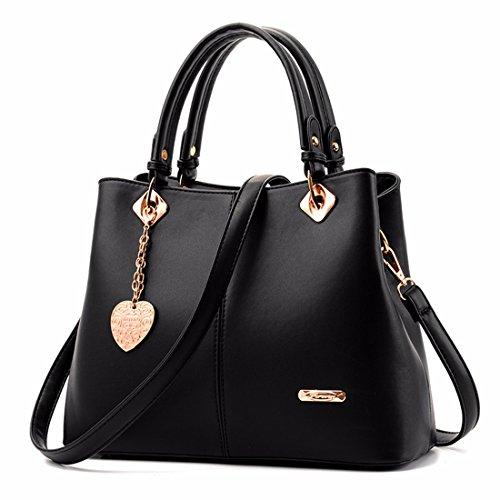 La moda señoras bolso bandolera bolsos casual, gris Negro