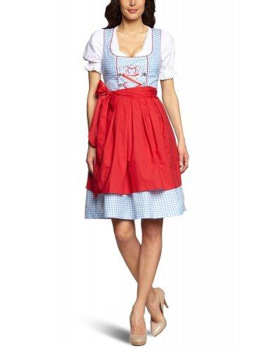 Mini-Dirndl Lucy - hellblau-weiss kariert - rot/pink - 32-46, Größe:38