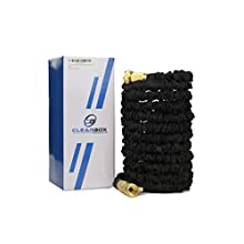 Clearbox Products 50' Black Expandable Strong Garden Hose with 3/4 Brass fittings, natural latex core with free multi-spray nozzle