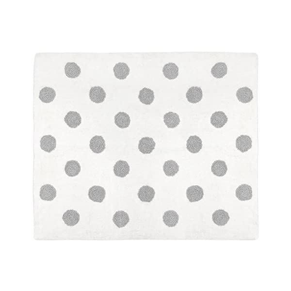 Sweet Jojo Designs Grey and White Polka Dot Accent Floor Rug or Bath Mat for Watercolor Floral Collection