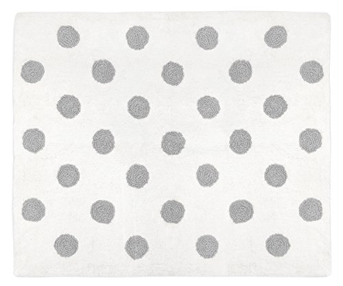 - Sweet Jojo Designs Grey and White Polka Dot Accent Floor Rug or Bath Mat for Watercolor Floral Collection