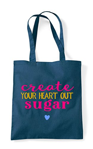 Out Tote Create Heart Crafting Shopper Sugar Your Bag Petrol Statement Sp7xAO