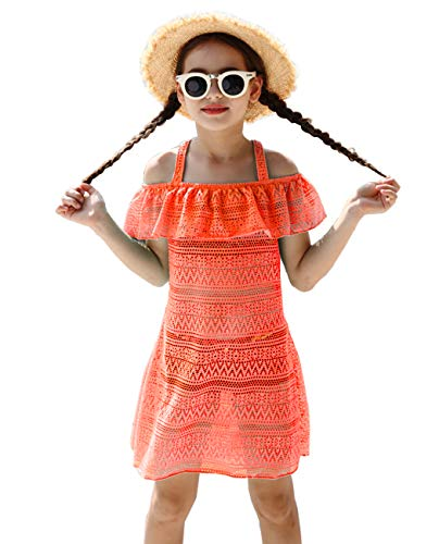 iDrawl Girls' Cover-ups Swimsuit Beach Dress, Orange Ruffle