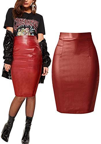 Pu Denim Pencil Bodycon Mini Skirt Sexy Tight Stretchy Skirts Junior Size 2018 Spring Summer Wine Red Burgundy 4