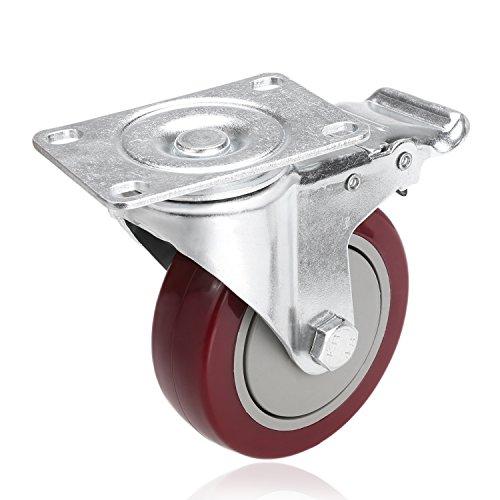 Se... 4'' PVC Heavy Duty Swivel Caster Wheels Lockable Ball Bearing 300lbs each