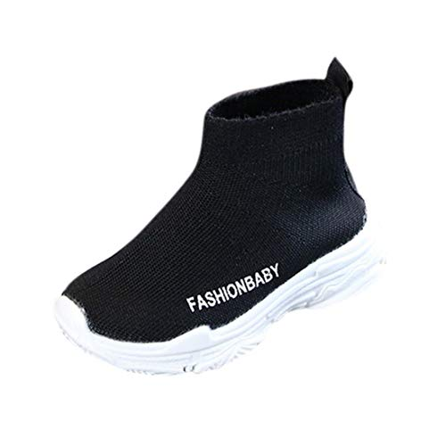 Kids Baby Boys Girls Mesh Ankle Boots Sneakers, Toddler Infant Children Sport Shoes Anti-Slip Shoes Soft Sole Sneakers (Black, US:6.5(Age:2-2.5T))