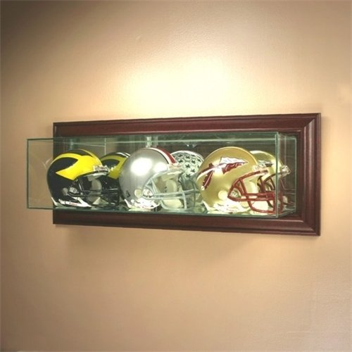 Wall Mounted Glass Football Triple Mini Helmet Display Case with Cherry Wood Molding