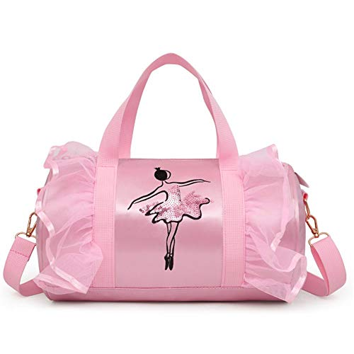 Luerme Children's Dance Bag Shoulder Bag Tote Bag Girl's Dance Duffle Bag Ballet Latin Dance Handbag Satchel Messenger Bags for Little Girls Ballerina Kid Teen -