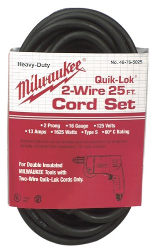 Milwaukee 48-76-5025 Quik-Lok 25-Foot 2 Wire Double Insulated Cord