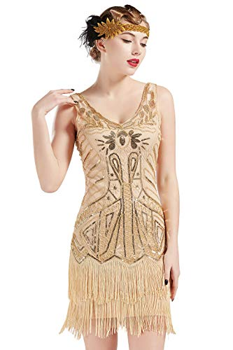 BABEYOND Women's Flapper Dresses 1920s V Neck Beaded Fringed Great Gatsby Dress (Champagne & Gold, XS)]()