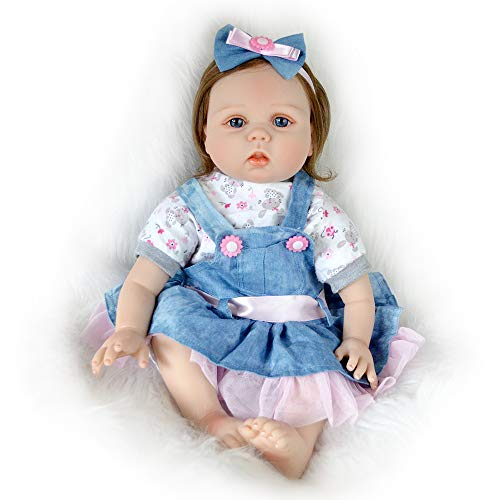 Harvest Denim Dress - Reborn Baby Doll Girl Vinyl Realistic Newborn Blue Eyes 22 Inch Denim Dress with White Short Sleeve