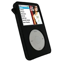 igadgitz Black Silicone Skin Case Cover for Apple iPod Classic 80GB, 120GB & ( 160gb launched Sept 09 ) + Screen Protector & Lanyard