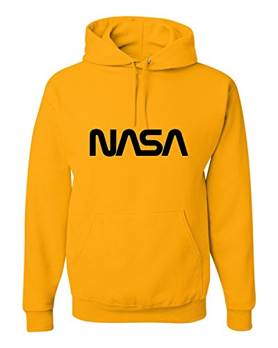 Large Gold Adult NASA Worm Logo Sweatshirt Hoodie