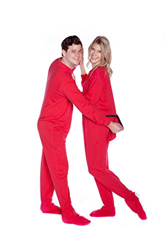 Red Cotton Jersey Knit Adult Footed Pajamas Onesie w/Drop seat (Red Footed Pajamas For Adults With Drop Seat)
