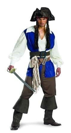 Disguise Men's Captain Jack Sparrow Deluxe Adult,Multi,XL (42-46) Costume