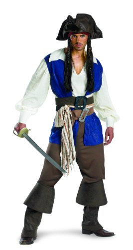 Disguise Men's Captain Jack Sparrow Deluxe Adult,Multi,XL (42-46) Costume