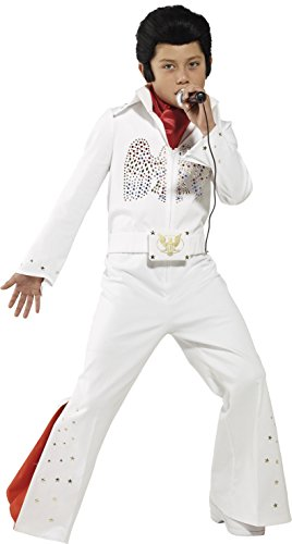 Smiffy's Children's Elvis Costume, Jumpsuit & Scarf, Ages 7-9, Colour: White,
