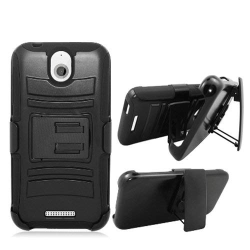 online store e4c37 8caf6 Phone Case for Cricket HTC Desire 512 Prepaid Smartphone Black Edge Cover  Kickstand Combo Holster Belt Clip
