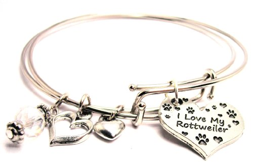I Love My Rottweiler Adjustable Wire Bangle Bracelet