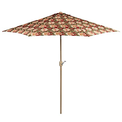 9 Foot Floral Palm Market Umbrella crank / tilt For Sale