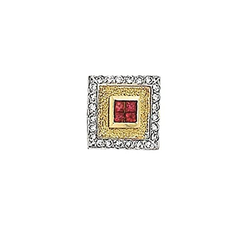14K Gold Sapphire/Ruby Tie Tac With .12 ct. Diamonds