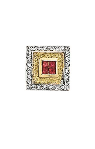 14K Yellow Gold Ruby Tie Tac With .12 ct. Diamonds-86302