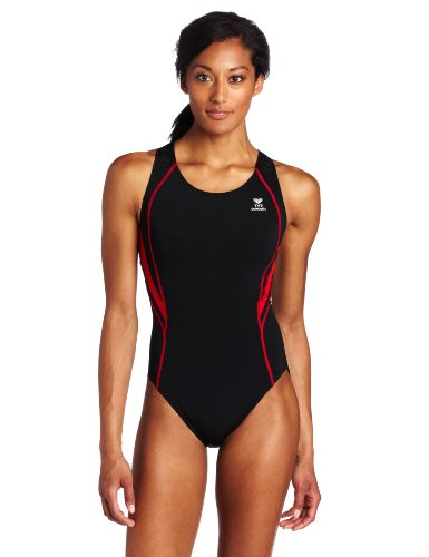 TYR Sport Women's Alliance Durafast Splice Maxback Swim Suit (Black/Red, 36)